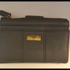GREY 100% LEATHER WALLET